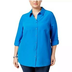 Charter Club Plus Size Cobalt Blue Button Down Top